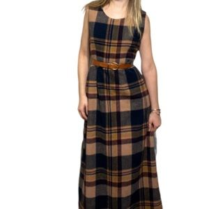 Vintage plaid wool maxi dress